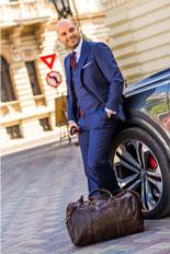 Gentlemen`s Corner Slim Fit Navy Stripe Suit - Heritage