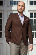 Gentlemen`s Corner Dark Brown Check Slim Fit Jacket