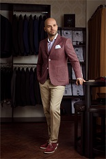 Gentlemen`s Corner Burgundy Slim Fit Jacket