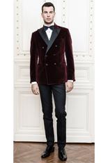 Gentlemen`s Corner Bordeaux Velvet Dinner Jacket - Lancaster - MTM
