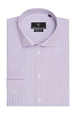 Johnson Purple Stripe White Shirt - Button Cuff