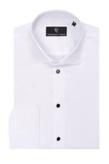 Diamon Pique White Dress Shirt - Black Buttons - Double Cuff