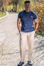 Gentlemen`s Corner Beige Linen Slim Fit Trousers - Made to Measure