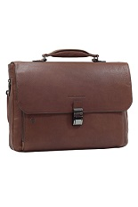 Piquadro Laptop Leather Briefcase - 10.5�/9.7� laptop and iPad� expandable - Brown-