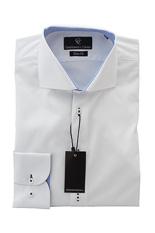 White Pique Shirt - Button Cuff - Paisley