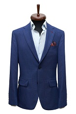 Gentlemen`s Corner Blue Check Slim Fit Jacket