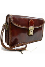 Ferrara Brown Leather Handy Wrist Bag