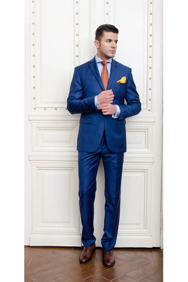 Costum albastru Slim Fit Gentlemen`s Corner - Duke MTM - NOU!