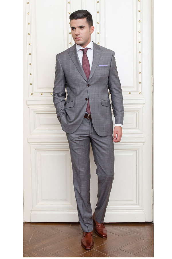 Costum gri in carouri Slim Fit GC - Nobility  - NOU!