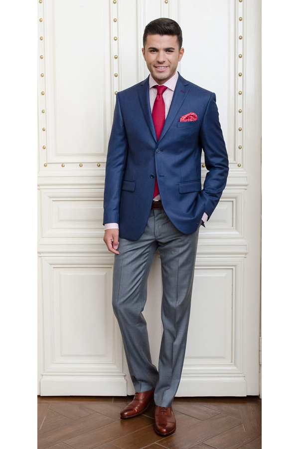 Sacou albastru Bird`s Eye Slim Fit Gentlemen`s Corner - NOU!