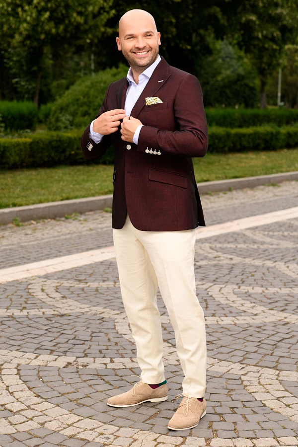 Sacou barbati burgundy Slim Fit Gentlemen`s Corner